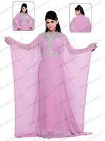 Reference Images High Neck Chiffon 2015 Pink Chiffon Muslim Arabic Kaftan Dubai Pakistan Abaya Wedding Evening Dresses Modest High Neck Long sleeves Crystals Beaded Party Gown