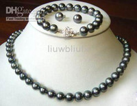 Bracelet,Earrings & Necklace Celtic Women's tahitian 7--8mm black pearl necklace bracelet earring 18inches 925 silver