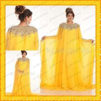 Reference Images Jewel Chiffon 2014 Yellow Chiffon Muslim Arabic Kaftan Dubai Pakistan Abaya Maxi Wedding Evening Party Dresses Bling Bling Crystals Long Sleeves Gowns New