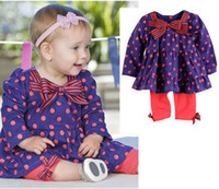 Girl baby tutus for sale - Hot Sale New spring autumn girls long Sleeved pc dress sets girls purple dot bowknot dress tops baby red pp bow pants for T Melee