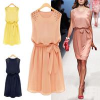 Wholesale NEW Korean Womens Fashion Chiffon Pleated Bow Sleeveless Shoulder Beads Tank Mini Casual Dress M L XL