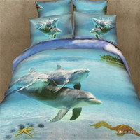 Adult Twill 100% Cotton family dolphins prined bedding sets 3d bedclothes pure cotton bedcover flat bedsheets bedspread queen size comforter duvet quilt cover set