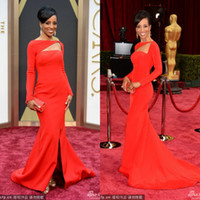 Wholesale The Oscars th Academy Awards Red Carpet Sean Robinson Celebrity Dresses Red Long Sleeve Sheath Slipt Front Satin Evening Dresses