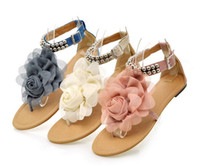 Flat Heel sandals for women 2014 - Flower Sandals for Women Summer Lady Flower Slippers Size35 Fashion Women Shoes