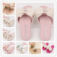 Wholesale Children Summer Fashion Multilayer Pearls Beading Bow Slippers Soft Bottom Fancy Sandals Princess Girls Shoes B2215