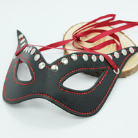 Female arriva toys - New Arriva Black Leather Sexy Blindfold with red Sash Eye Mask Sex Game Adult toys BLT14004