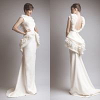 Wholesale 2014 Sexy Fashion Long Sheath Appliques Satin Backless Prom Dresses Evening Gowns College Graduation Dresses