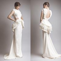 2014 Sexy Мода Длинные Оболочка Аппликация атласная Backless платья выпускного вечера / Вечерние платья колледжа выпускные платья