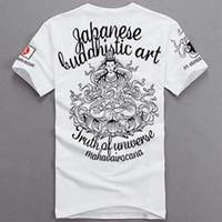 Wholesale 2014 Hot sales Chinese folk style Sitting Lotus Buddha Guanyin Tattoo cotton Men s short sleeve T shirt
