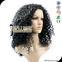 Wholesale WHW Top quality afro curly lace front Stynthetic hair wig Japanese kanekalon fiber material cosplay heat friendly cheap price