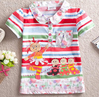 Wholesale Nova Kids girl s summer cotton flower turn down collar in the night garden colorful stripe t shirt children cartoon short sleeve shirts