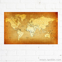 One Panel Digital printing Classical Vintage Cotton Canvas World Map, Home Decorative Wall Hanging Frameless Paintings, Classroom Office Decoration