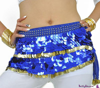 Wholesale Free EMS DHL Pieces Mixed Sequins Coins Belly Dance Costume Belly Dance Hip Scarf Coin Wrap Belt Skirt Hipscarf