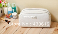 Wholesale Fashion PU Cosmetic Bags Solid White Color for Women Handbag Makeup Storage Bags
