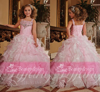 Wholesale 2014 Elegant little girls s pageant dresses pink organza ruffles sequins beaded floor length girls formal occasion princess gowns TF13371