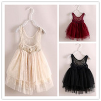 Wholesale Summer Baby Girl Dress Lace Gauze Floral Hollow Tutu Tanktop Children s Princess Girl s Party Dresses Baby Clothing Girls tutu Dress C1115
