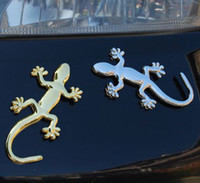 Personalized Sticker audi emblem light - 3D Gecko Lizard Logo Metal Chrome Badge Emblem Decals Gold Silver Stickers For Audi Auto Car Quattro Decoration DHL Retail Box
