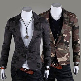 Wholesale Men Outwear camouflage military style mens suit one button jackets