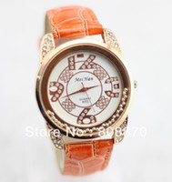 Women's Round 23 Women's crystal gel Watch rose gold dial Quartz movement watches PU strap clock hours sample order GH21