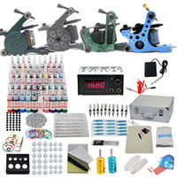 4 Guns Beginner Kit  USA Dispatch Professional complete cheap tattoo kit 4 guns machines 40 ink sets 1 Grip equipment power supply(USA warehouse)K102