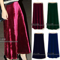 Polyester Long  Women Sexy Vintage Elasticated High Waist Full Soft Velvet Maxi Long Skirt Rhp 10415
