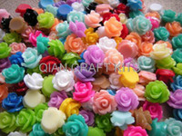 Wholesale Set of Resin Rose Cabochon mm diameter Mixed colors colorful small roses for earrings SZ0174