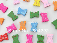 other   Set of 80pcs big polka dots bowknot 3D Wood wooden beads applique charms 25*15mm for DIY necklace bracelet etc.-MK0202