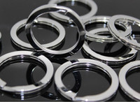 Wholesale stainless steel Iron Round Metal Keyring Rhodium Plated Split Key Ring Findings Fit Key Chain mm