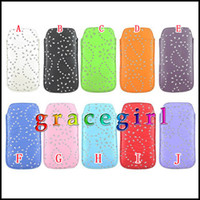 Wholesale Leather Rope case Diamond Flower Slim Sleeves Pull Tab Pouch pouches clip Holster Bag Bling For Samsung GALAXY S5 SV I9600 skin