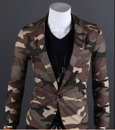 Wholesale Men Outwear fashion camouflage military style mens suit one button jacket Qltrade_2