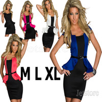 Casual Dresses Round Mini 2014 New Hot Sale Women Sexy Hit Color Peplum Fashion Mini Bodycon Dress Career Office Lady OL Blue Dresses Robes With Belt