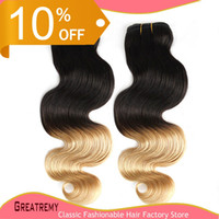 Wholesale Ombre Hair Weave Weft Ombre Dip Dye Two Tone T1B Color Brazilian Ombre Human Hair quot quot Hair Extension Body Wave A Ombre Hair