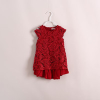 Summer baby smocked dresses - 2014 girls clothes full floral laced smocked cotton red dress baby girl clothes party dress black