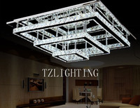 Wholesale K9 Crystal Rectangular Pendent Lamp LED Stainless Steel Ceiling Lamp Modern Simple Living Room Chandelier Light Dining Room Bedroom Lighting