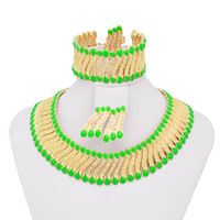 Wholesale Bright Green African Dubai Jewelry Set Special Costume Fashion Jewelry A080