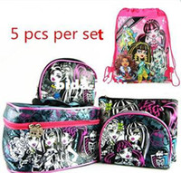 Wholesale Monster High cosmetic bag case fashion women cosmetic case and bag students pencile case bag new as set