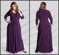Wholesale 2014 A Line V Neck Ruched Sash Ankle Length Long Sleeve Plus Size Purple Chiffon Mother of the Bride Dresses Wedding Dresses PM815