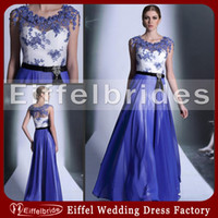 Wholesale 2014 Classical Embroidery Prom Dresses with Glamorous Sheer Unique Appliques Cap Sleeves and Stunning A line Sweep Formal Evening Dresses