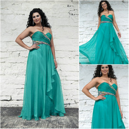 Wholesale 2014 Latest Plus Size Teal Prom Dresses Chiffon Sweetheart Crystal Beaded Ruched Full Length Party DressesAngela and Alison Style W