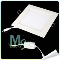 Wholesale 50pcs high quality W W W Ultrathin LED Panel Lights AC V V Square Recessed Lamp Ceiling Lights Cool WarmWhite
