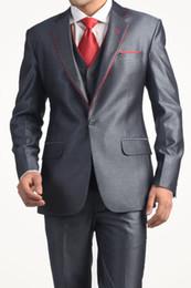 Custom Made New Style One Button Groom Tuxedos Grey Best man Notch Lapel Groomsman Men Wedding Suits Bridegroom (Jacket+Pants+Tie+Vest) J220