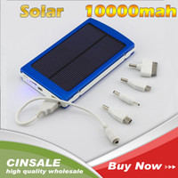 Wholesale 10000 mAh Dual USB Solar Charger A Solar Panel Battery Charger Safe Li Battery inside with Cable