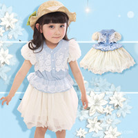 TuTu Summer Straight Wholesale Free Shipping 2014 Summer girls dresses girl sleeveless lace dress with beautiful bow baby summer clothing girl layer dresses