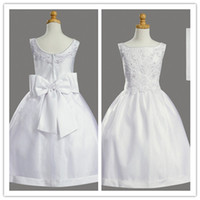 Wholesale Custom Made Little Princess Ankle length Jewel Short Sleeves Wedding Flower Girl Dresses First Communion Dresses