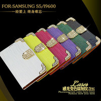 Wholesale Cell Phone case Luxury Diamond bling crocodile Wallet leather pouch For Samsung S5 I9600 chain credit card money pocket skin case cover