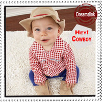 Wholesale Infant Boy Girl Rompers With Cap Hat Baby One Piece Romper Kids Climb Clothes Toddler Plaid Jumpsuits Baby Walking Dress set
