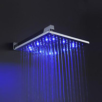 Bathroom   Wholesale - 12'' (12 Inch) Bathroom square overhead LED rainfall shower head with shower arm brushed nickle cold & hot water 3100g LED121200
