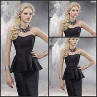 Reference Images Sweetheart Elastic Satin 2014 Cheap Modest Black Taffeta Cocktail Dresses Sweetheart Knee Length Sheath Peplum Ruffle Sexy Prom Evening Pageant Gowns Dress Hot Sale