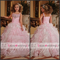 Cheap 2014 New Lovely Pink Sleeveless Organza Girl's Pageant Dresses Layered Beaded Rhinestones Ruffles Flower Girls Dresses TF13371