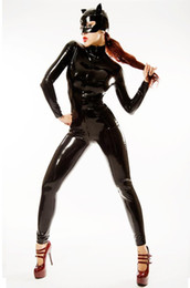 Wholesale 2014 High Quality Full Cover Latex Catsuit Costume Womens Black PVC Leather Rubber Catsuit Zipper Sexy Costumes with Mask